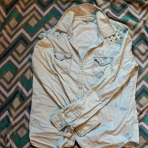 Studded-shoulder Chambray top